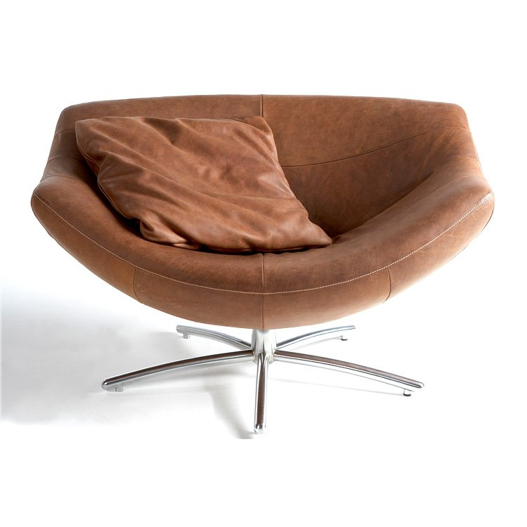 Gigi Swivel Chair In Yak Leather