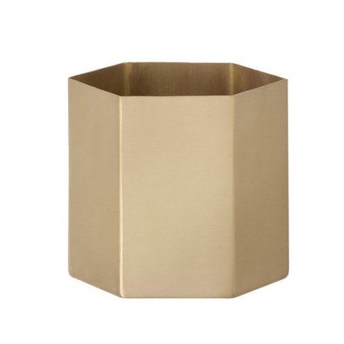 Hexagon Pot Brass ferm Living modern vase planter