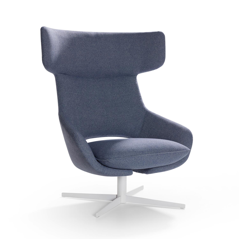 Modern swivel armchair - Artifort Kalm Swivel Armchair In Denim Blue
