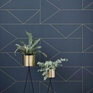 ferm Living Lines Wallpaper in dark blue
