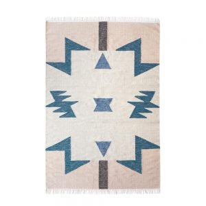 BLUE TRIANGLES KELIM RUG by ferm LIVING size large