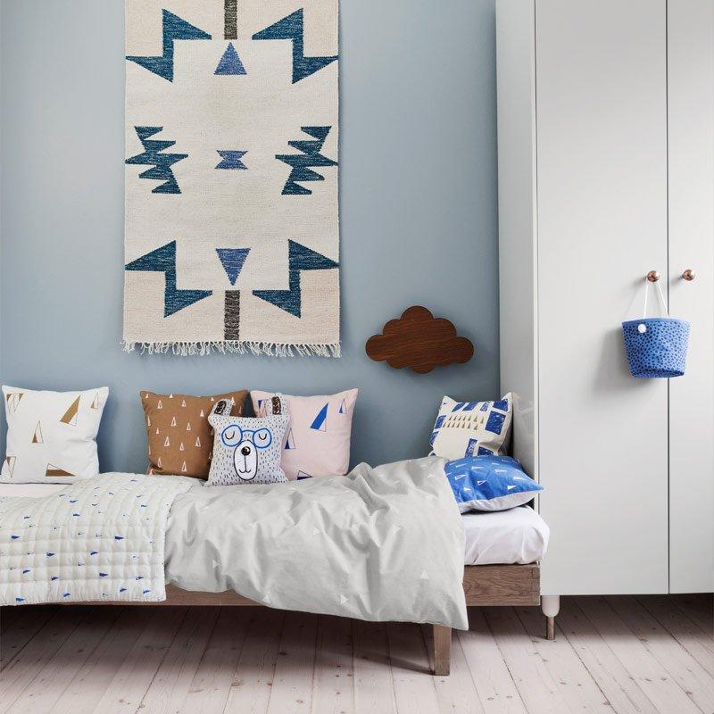 BLUE TRIANGLES KELIM RUG | Modern Intentions - Shop Modern Rugs