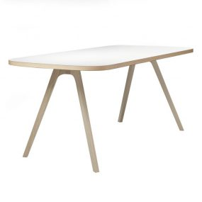 TABLE JORG in HPL White Top with Ash Natural Edge and Legs
