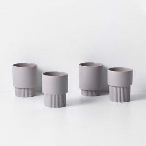 Groove Cups - Grey (Set of 4) Designed byTrine Andersen | fermLIVING
